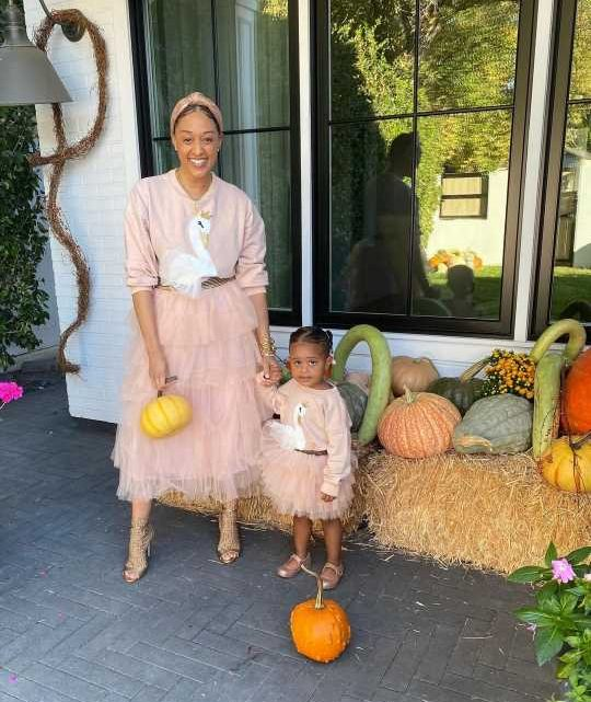 Tia Mowry-Hardrict Poses with Daughter, 2, for Festive 'Pumpkin Fun' in Matching Skirts